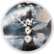 The Lighthouse And The Fishermans Tale Round Beach Towel