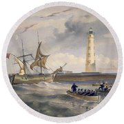 The Lighthouse At Cape Chersonese Round Beach Towel