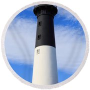 The Lighthouse At Hunting Island State Park In South Carolina Round Beach Towel