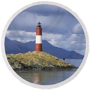The Lighthouse At The End Of The World Round Beach Towel