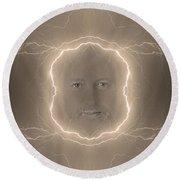 The Lightning Man Sepia Round Beach Towel