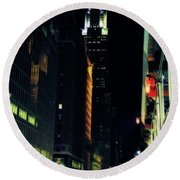 The Lights Of New York City Round Beach Towel