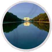 The Lincoln Memorial At Sunrise Round Beach Towel