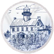 The Lines Of East Point Light In Blue Round Beach Towel