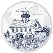 The Lines Of East Point Lighthouse In Blue 2 Round Beach Towel