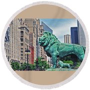 The Lions Of Chicago Round Beach Towel