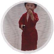 The Little Boy In The Red Silk Dress Round Beach Towel