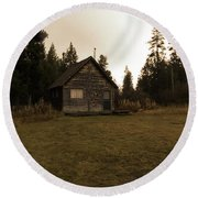 The Little Cabin In The Woods Round Beach Towel