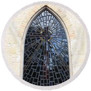 The Little Church Window Round Beach Towel