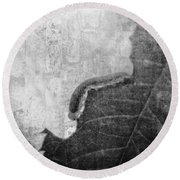 The Little Inchworm - B And W Round Beach Towel