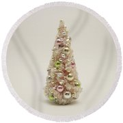 The Little Pink Christmas Tree Round Beach Towel