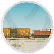 The Little Red Engine Round Beach Towel