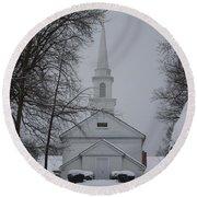 The Little White Church Round Beach Towel