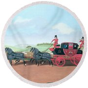 The Liverpool And London Royal Mail Coach, 1812 Oil On Canvas Round Beach Towel