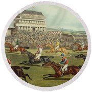 The Liverpool Grand National Steeplechase Coming In Round Beach Towel by Charles Hunt and Son