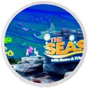 The Living Seas Signage Walt Disney World Round Beach Towel