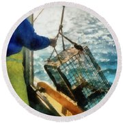 The Lobsterman Round Beach Towel by Michelle Calkins