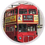 Vintage London Bus Round Beach Towel