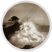 The Lone Cypress Midway Point Pebble Beach  Lewis Josselyn  Circa 1916  Round Beach Towel