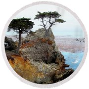 The Lone Cypress - Pebble Beach Round Beach Towel by Glenn McCarthy Art and Photography