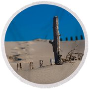 The Lonely Driftwood Round Beach Towel