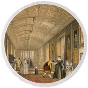 The Long Gallery At Lanhydrock Round Beach Towel