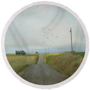 The Long Road Home Round Beach Towel