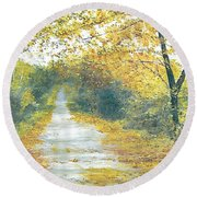 The Long Road Home - Oil Round Beach Towel