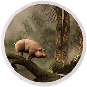 The Lost Pig Round Beach Towel