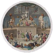 The Lottery, Illustration From Hogarth Round Beach Towel