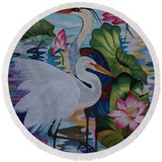 The Lotus Pond Hand Embroidery Round Beach Towel