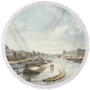 The Louvre, From Views On The Seine Round Beach Towel