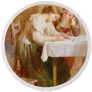 The Love Letter, 1871 Round Beach Towel