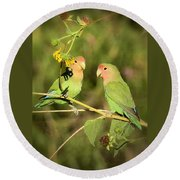 The Lovebirds  Round Beach Towel