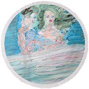 The Lovers And The Bed Round Beach Towel