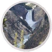 The Lower Falls Of Yellowstone River Round Beach Towel
