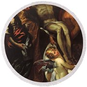 The Lowering Of The Cross With Sts Mary Magdalene Augustine Jerome And Angels Round Beach Towel