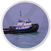 The Lunch Bucket Boat Round Beach Towel