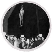 The Lynching Of A Murderer Round Beach Towel