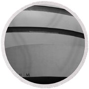 The M Museum In Black And White Round Beach Towel