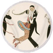 The Madness Of The Day Round Beach Towel by Georges Barbier
