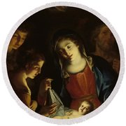 The Madonna Adoring The Infant Christ Round Beach Towel