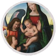The Madonna And Child With The Young Saint John The Baptist And An Angel  Round Beach Towel