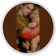 The Madonna Of The Chair Round Beach Towel