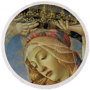 The Madonna Of The Magnificat Round Beach Towel