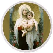 The Madonna Of The Roses Round Beach Towel
