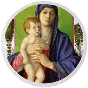 The Madonna Of The Trees Round Beach Towel by Giovanni Bellini