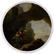 The Magdalen In A Cave Round Beach Towel