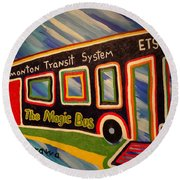 The Magic Bus Round Beach Towel