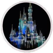 The Magic Kingdom Castle In Frosty Dark Blue Walt Disney World Round Beach Towel